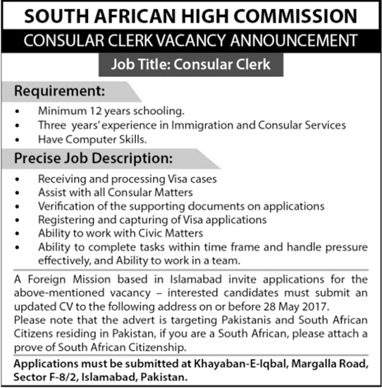 Clerk Jobs In South Africa High Commission Islamabad 22 May 2017