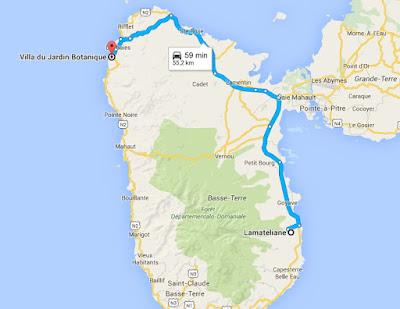 Itinéraire depuis Lamatéliane, location de gite en Guadeloupe