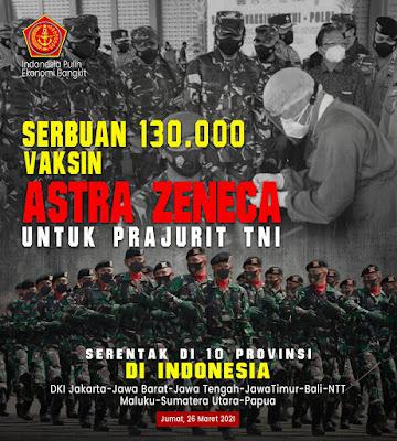 Panglima TNI Menerima 130.000 Vaksin AstraZeneca dari Menteri Kesehatan Untuk Prajurit TNI