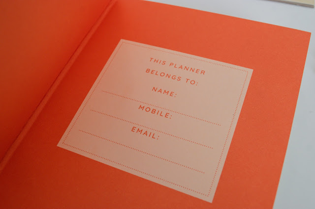 Inside cover of a planner