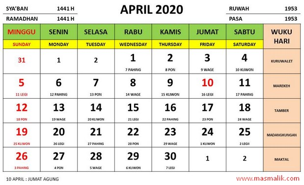 kalender tahun 2020, april