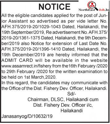 Admit Card Fishery DEV Officer Hailakandi
