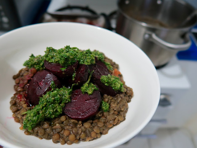 lentils and beets with salsa verde from A Modern Way to Eat by Anna Jones | salt sugar and i