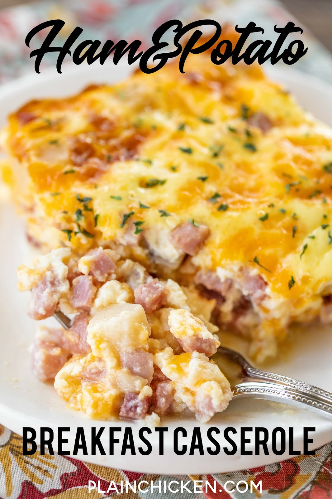 slice of ham and potato breakfast casserole