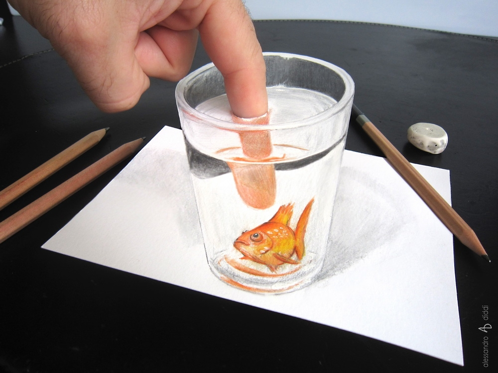 06-Fish-in-the-Glass-Alessandro-Diddi-Anamorphic-Optical-Illusions-that-look-like-3D-Drawings-www-designstack-co