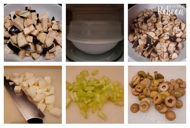 Receta de caponata siciliana: preparación de los ingredientes
