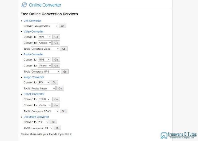 OnlineConverter : un outil en ligne de conversion de fichiers avec outils complémentaires pour les éditer