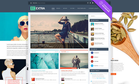 Download Free Extra WordPress Theme 3.0.76 – ThemeForest | Extra v3.0.76 – Elegantthemes Premium WordPress Theme is the perfect webdesign for bloggers and an awesome online-publication. It is proudly powered by the Divi Builder which is giving you an ultimate great flexibility to create diverse homepages, categories and story-driven posts that will keep your visitors engaged and coming back for more. Extra comes packaged with the the most powerful Divi Builder which bringing you an advanced Drag & Drop building power for every type of  page and post which you create. Extra also comes with more than 40 unique content modules, which are like building blocks for your page.