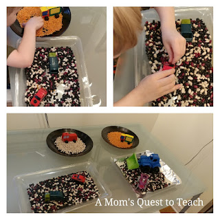 Sensory play with beans and cars