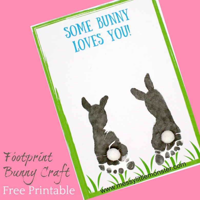 photograph about Printable Easter Bunny Footprints known as Footprint Bunny Craft - No cost printable keepsake card - Messy