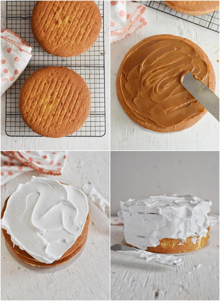 Relleno y decoración de la torta: dulce de leche y merengue, collage de 4 fotos