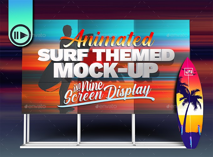 Graphicriver 3D Animated Surfboard and HD Display Mock-Up Scene Template 27056336
