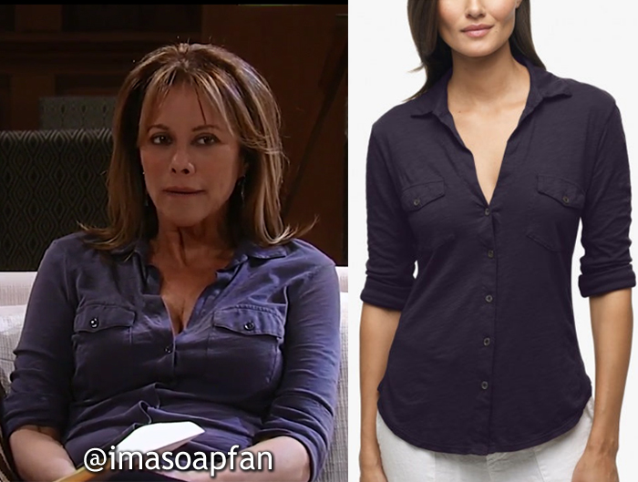 Alexis Davis, Nancy Lee Grahn, Blue Buttondown Shirt, James Perse, GH, General Hospital