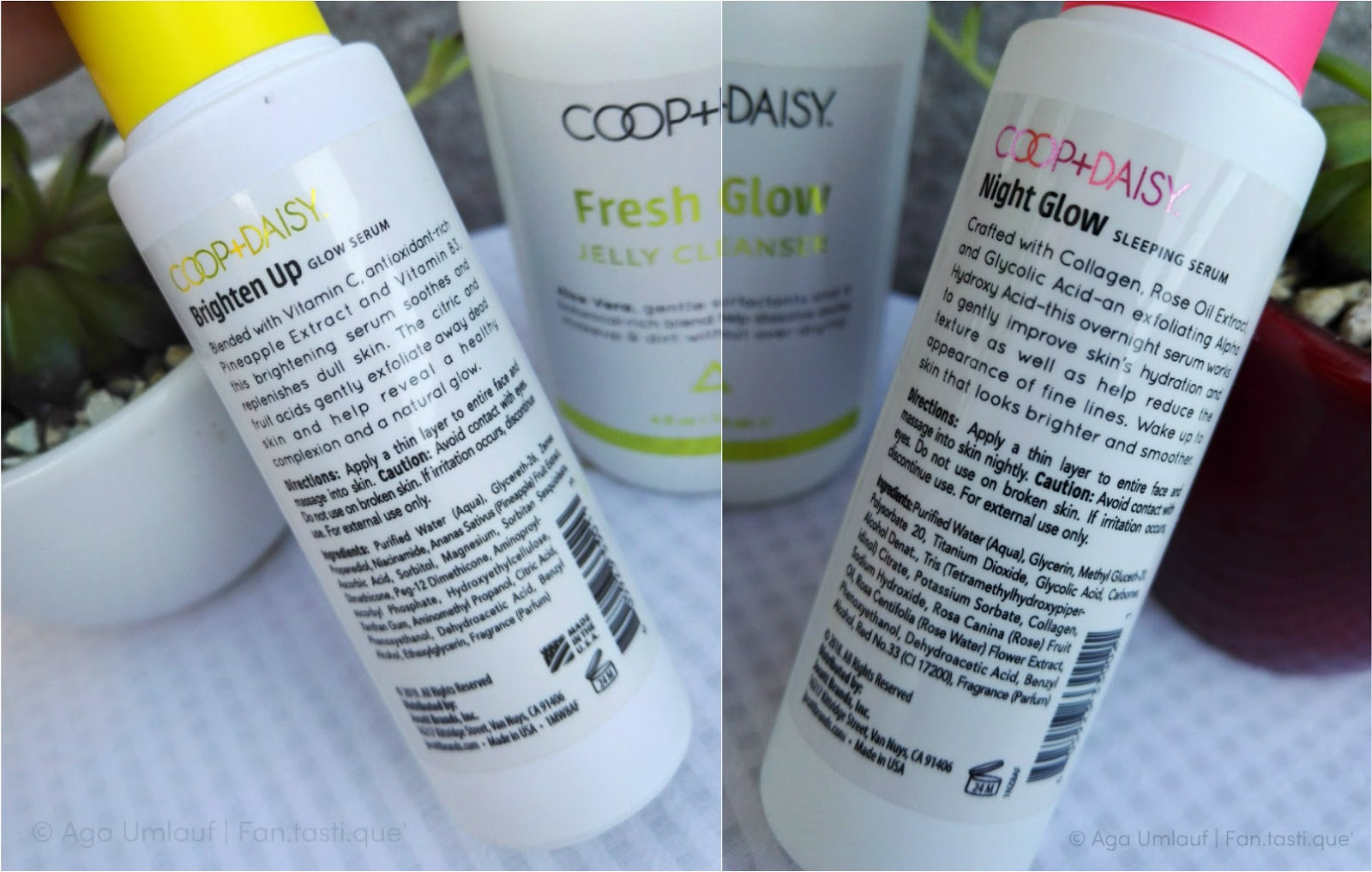 a collage of the labels on the back of the bottles of the COOP+DAISY Brighten Up Glow Serum and the Night Glow Sleeping Serum, showing the directions and ingredients