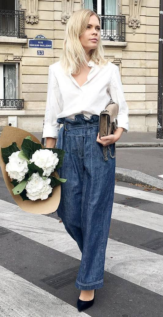 trendy outfit idea: shirt + jeans
