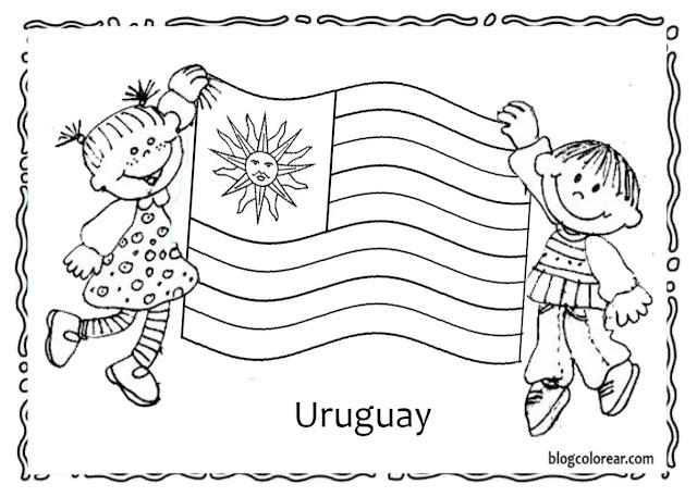 Dibujo pra colorear  de dos niños aguantando la bandera de Uruguay ondeante