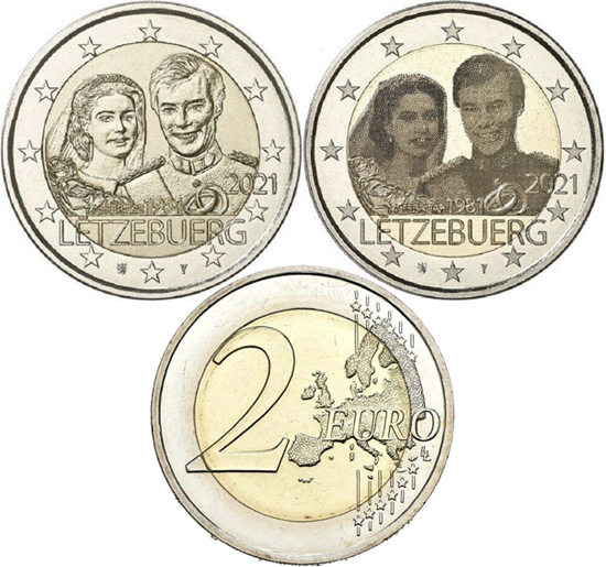 Luxembourg 2 euro 2021 - 40th Anniversary of the Wedding of Henri and Maria Teresa