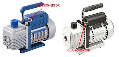 pompa vakum dengan satu dan dua konektor