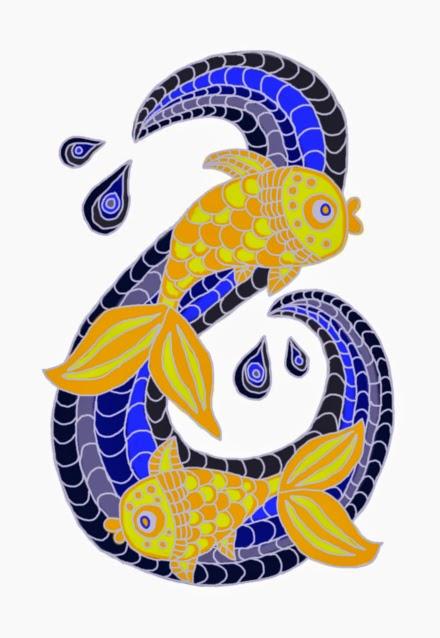 Digitális rajz balatoni horgászatról, a kapás pillanatában pont két ponty akad horogra fröccsenő vízcseppek és fodrozódó hullámok között.