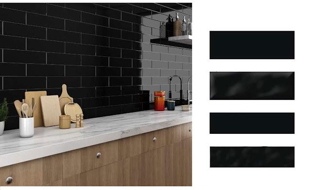 Black Subway Tile Kitchen