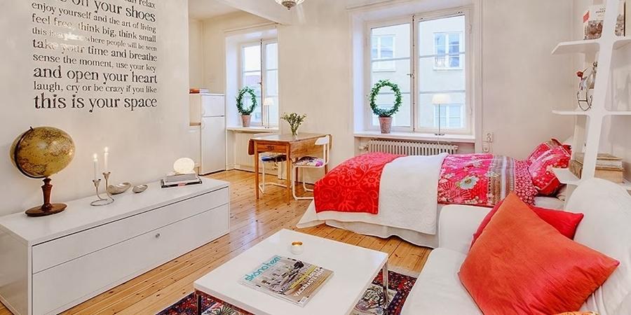Radosne mieszkanko typu studio, wystrój wnętrz, wnętrza, urządzanie domu, dekoracje wnętrz, aranżacja wnętrz, inspiracje wnętrz,interior design , dom i wnętrze, aranżacja mieszkania, modne wnętrza, małe wnętrza, kawalerka, małemieszkanie, białe wnętrza, styl skandynawski