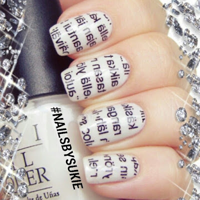 Nail art of the newspaper