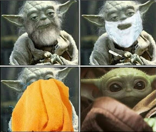 Baby yoda antes y después de afeitarse