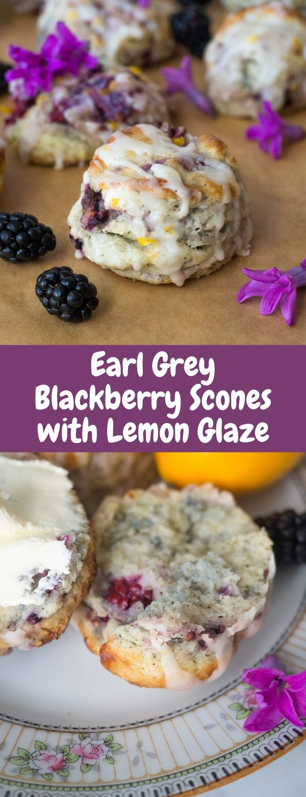 Earl Grey Blackberry Scones with Lemon Glaze
