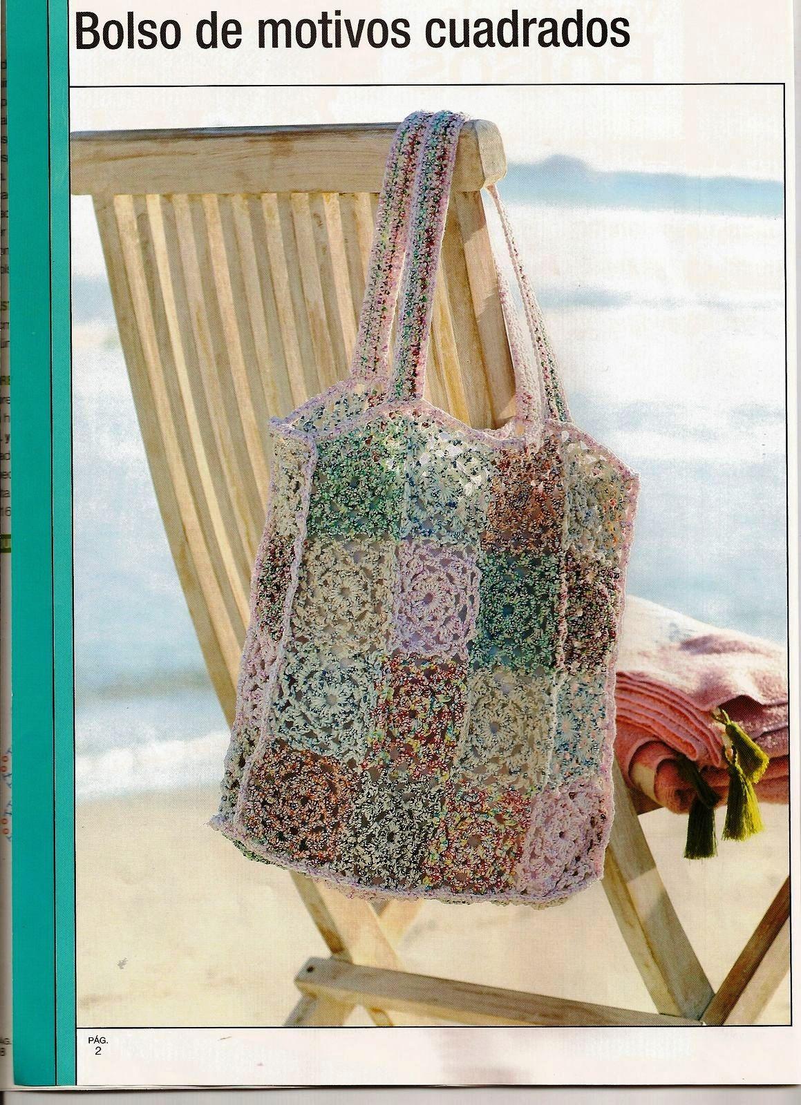 Bolsa de Motivos Cuadrados Crochet