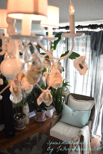 A six armed white chandelier decorated with crystals and oyster shells