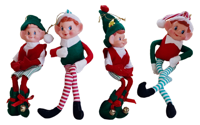 "A set of 4 vintage Christmas elves; typically, today these are known as ""elf on the shelf"", but these ones existed long before elf-on-the-shelf came along. Circa 1950s."