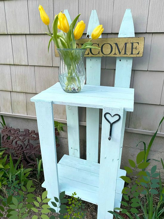 Cottage green picket fence garden table