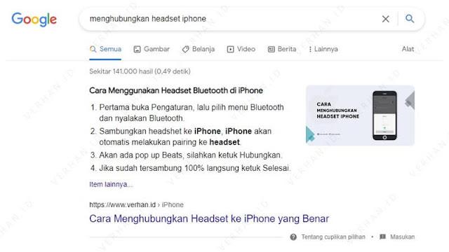 artikel verhan.id mendapatkan cuplikan di pencarian google