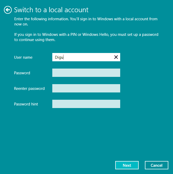 use local account in Windows 10