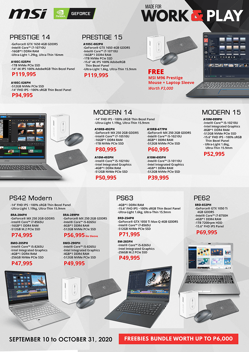 MSI Work and Play Promo deals for Prestige, Modern laptops