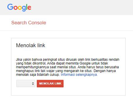 Properti hilang/tidak muncul di Google Disavow Link