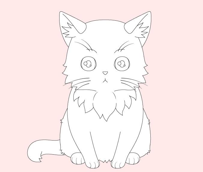 Anime kucing menggambar rumpun bulu kecil