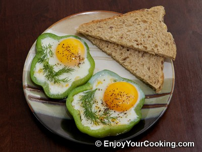 Eggs Fried with Tomato in Bell Pepper Ring Recipe