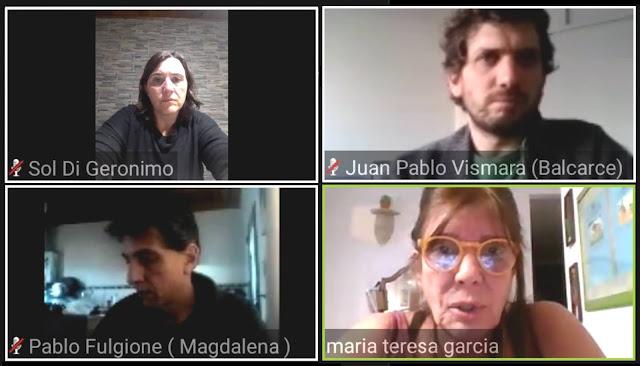Juan Pablo Vismara y Sol Di Gerónimo participaron de una videoconferencia junto a la Ministra de Gobierno bonaerense.
