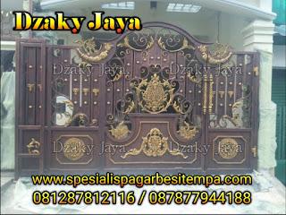 Contoh pintu pagar besi tempa klasik terbaru dengan harga pagar besi tempa murah.