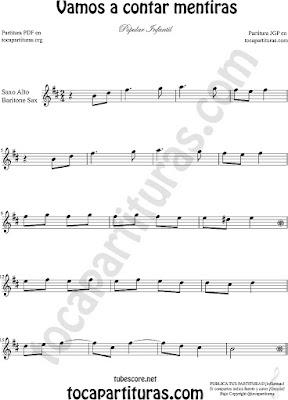 Saxofón Alto y Sax Barítono Partitura de Vamos a Contar mentiras Sheet Music for Alto and Baritone Saxophone Music Scores