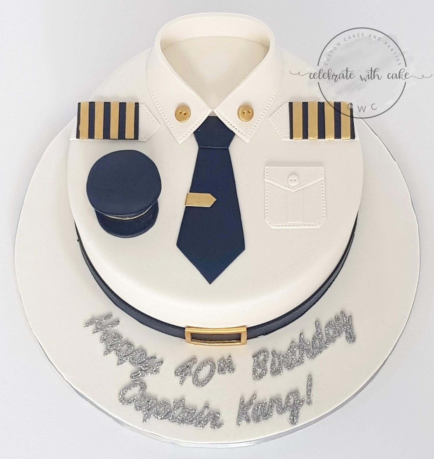 Celebrate With Cake Sq Pilot Uniform Cake