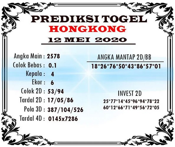 Prediksi Togel Hongkong Selasa 12 Mei 2020 - Prediksi Togel JP