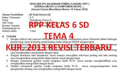 RPP 1 Lembar Kelas 6 SD Tema 4 Kurikulum 2013 Revisi Terbaru