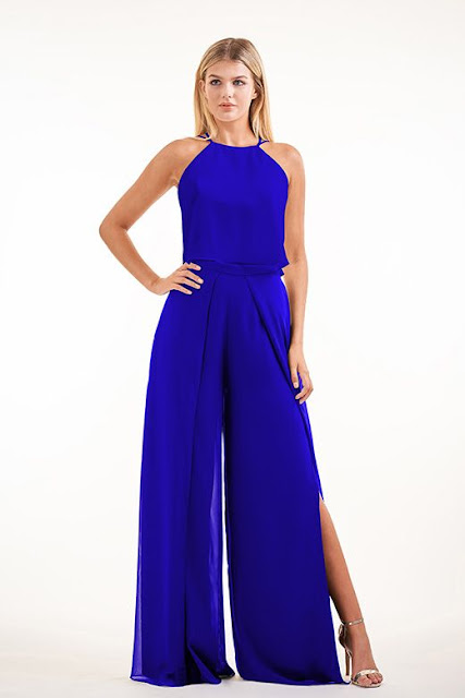 Dresses your bridesmaids will love and can wear again after the wedding - wedding dress ideas - blue charolette chffion two piece halter neckline and open front slit pants - wedding ideas blog - K'Mich Weddings Philadelphia - jasminbridal.com