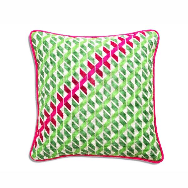 Pink and Green Geometric Twist Needlepoint Cushion