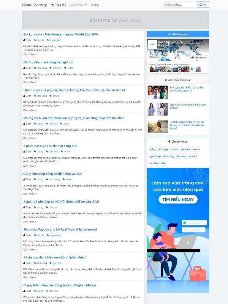 Template blogspot tin tức cá nhân layout 2 cột bootstrap