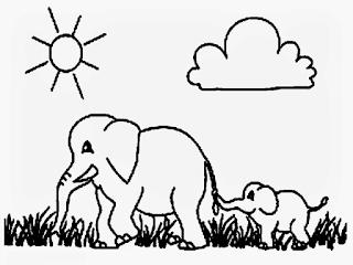 Gambar Sketsa Mewarnai Gajah Sebagai Media Belajar Anak 201610