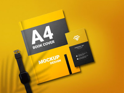 A 4 Book with Business Card Mockup