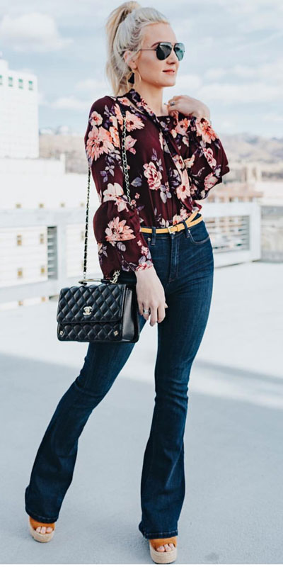 24 Cute Fall Outfits You Should Already Own. Clinch the waist with chunky belts and slip into shimmery satin and silk outfits, because these cute fall clothing are a staple this season. Fall Fashion via higiggle.com | floral jeans outfits | #fall #falloutfits #jeans #floral